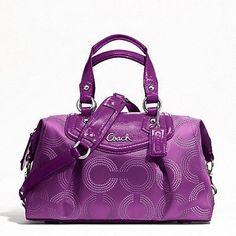 Coach Ashley Dotted Op Art Satchel Handbag Purple ? Clothing Impulse