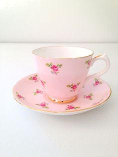 Vintage English Royal Grafton Fine Bone China Teacup and Saucer Tea Party - c. 1957 - 1960