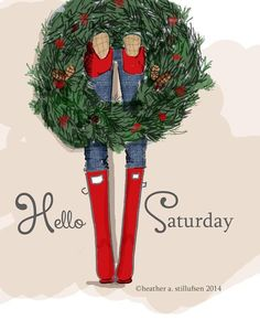 rose hill designs by heather stillufsen preppy hunter boot with Christmas wreat Christmas Quotes, Christmas Art, Winter Christmas, Christmas Decorations, Cottage Christmas, Christmas Messages, Black Christmas, Christmas Humor, Christmas Presents