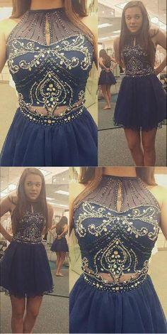 54d0148b0eff Discount Magnificent Short Homecoming Dress, Homecoming Dress Two Piece,  Navy Homecoming Dress, High Neck Homecoming Dress