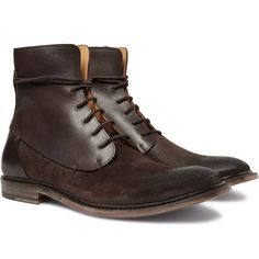 Waxed Suede and Leather Boots by Maison Martin Margiela