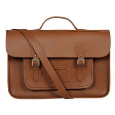 The Cambridge Satchel Company 15 Inch Leather Batchel - Vintage Tan ($220) ❤ liked on Polyvore featuring bags, handbags, satchels, bolsos, messenger bags, vintage leather satchel, leather cross body purse, leather laptop messenger bag, brown leather satchel and vintage leather purse