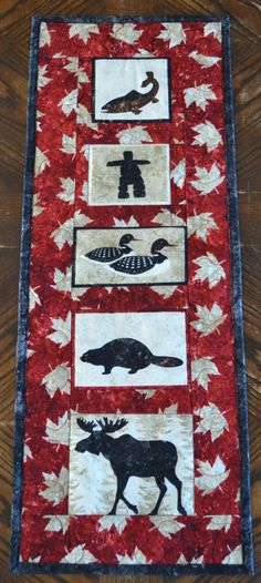 This Canadian Art Quilt Wall hanging will look great hanging on your wall or would be great as a hostess gift or souvenir gift! Canadian icons of Canadian Quilts, Canadian Art, Flag Quilt, Quilt Blocks, Moose Quilt, Paper Piecing, Quilts Canada, Sewing To Sell, Scrappy Quilts