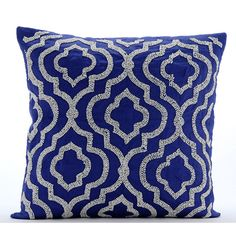 Handmade Blue Throw Pillow Covers 16x16 Cotton by TheHomeCentric
