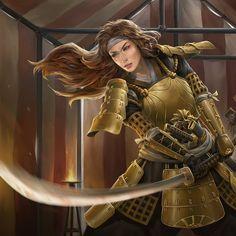 Fantasy Character Design, Character Concept, Character Art, Female Samurai, Samurai Armor, D D Characters, Fantasy Characters, Fictional Characters, Fantasy Warrior