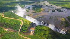 """""""Victoria Falls is a waterfall in southern Africa on the Zambezi River at the border btw Zambia and Zimbabwe. One of the wonders of the world"""" Beautiful Places In The World, Places Around The World, Around The Worlds, Pula, Chutes Victoria, Sites Touristiques, Destinations, Les Cascades, Destination Voyage"""