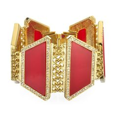The Gatsby Effect:The structured architectural design on this red and gold deco bracelet has a decadent Gatsby feel to it.