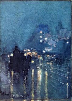 Frederick Childe Hassam: Nocturne, Railway Crossing, Chicago  (circa 1892-1893) Watercolor