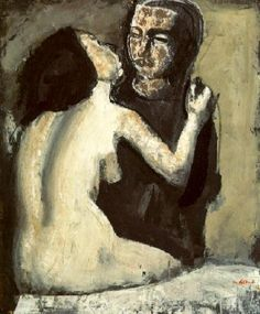 Sironi Mario (It. Two figures (Doppia figura) Tempera on cardboard x 72 cm) Italian Painters, Italian Artist, Figure Painting, Painting & Drawing, Santa Giulia, Couple Art, Portraits, Anime Style, Erotic Art