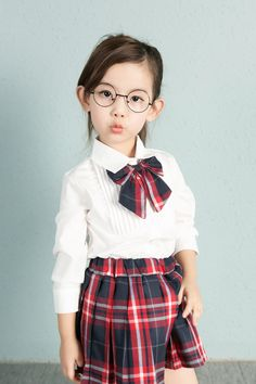 Wholesale Kid's Clothing Solid Color Shirt Plus Size Check Skirt Children School Uniform from Our website with high quality and fast shipping worldwide. School Uniform Outfits, School Dresses, Girls Dresses, Toddler School Uniforms, Kids Uniforms, Little Girl Outfits, Kids Outfits, School Fashion, Girl Fashion