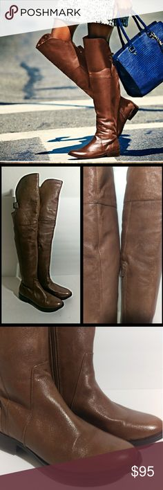 Steve Madden Knee High Brown Leather Boots 🛍 Free Shipping On This Item 🛍Steve Madden Knee High Brown Leather Boots. One inch high heels.  Side zipper  near the ankles.  Area near of the boot  that's just above the knee has buckles and elastic bands. Total height of the boot is 23 1/2 inches tall.  This included the heel.  The area around the boot at the calf is 14 inches  around.  (Lot828) Steve Madden Shoes Over the Knee Boots
