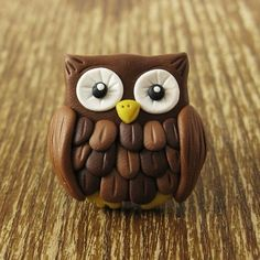 Things Made From Polymer Clay / Cute Hoot Owl Polymer Clay Ring by rapscalliondesign on Etsy, $15.00