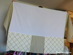 Save Time and Money with a 3 sided crib skirt!  That 4th side is against the wall anyway right!?!  Tutorial here!