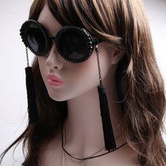 >> Click to Buy << New fashion retro tassel baroque pearl sunglasses women's Summer beach rhinestone vintage circle Black sun glasses female #Affiliate