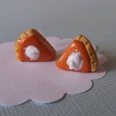 Pumpkin Pie Food Earrings Miniature Polymer by PitterPatterPolymer