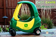 Little Tikes Cozy Coupe to John Deere Tractor Makeover. I just got a faded crappy one at the flea market this morning I wanted to redo it specifically John Deere.I'm so excitedd!