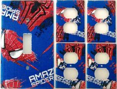 Spider Man Light Switch Cover Kids Bedroom Wall Decor Set Of 5 Hand Made Comic #Leviton