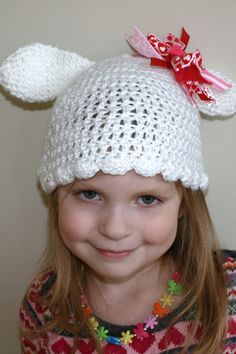 white crochet bunny hat for child by mylittlebows on Etsy, $12.00