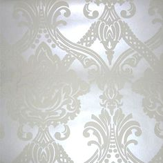 DESIGN DESCRIPTION:A classic raised (flock-effect)  traditional damask pattern on a pearly white bac..