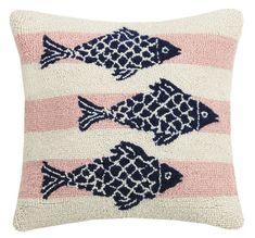 Pink Stripe Fish Hook Pillow