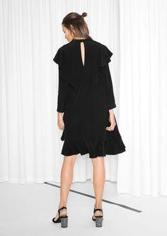 & Other Stories image 3 of Frilled Black Dress in Black