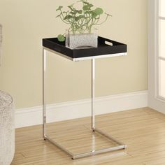 Monarch I 3036 Metal Accent Table with Serving Tray - Cappuccino / Chrome | www.hayneedle.com
