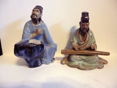 VINTAGE SHIWAN CLAY CHINESE MUDMEN (Scholar Scribe) And (Musician) Figurines