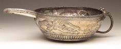 Early Persian (?) Silver Spouted Bowl with Handle