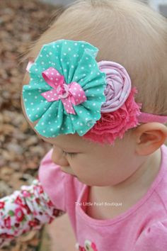 Baby Girl Headbands  Baby Girl  Aqua and by LittlePearlBoutique, $14.00
