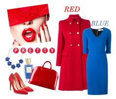 """""""RED AND BLUE"""" by veronica7777 ❤ liked on Polyvore featuring Lancôme, Rupert Sanderson, Versace, Louis Vuitton, Victoria Beckham and BERRICLE"""