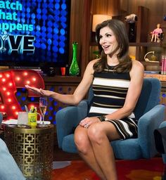 Heather Dubrow's Striped Dress on WWHL | http://www.bigblondehair.com/real-housewives/rhoc/heather-dubrows-striped-dress-on-wwhl/