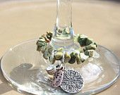 Garden green Stone Wine Glass Charms! Perfect for any occasion or garden themed decor!  Check out our store Elizabethkatedecor.etsy.com