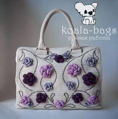 Купить вязаная сумка-саквояж ЭТЮД В РОЗАХ элегантная розы - Авторский дизайн