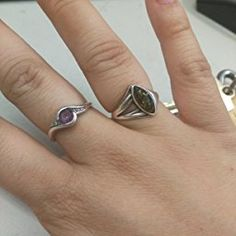 Sonia Jewels 925 Sterling Silver Green Simulated Amethyst /& Diamond Engagement Ring 2mm .01 cttw.