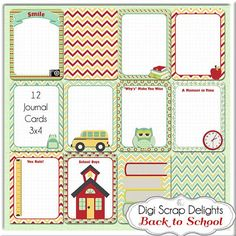 School Pocket Journal Cards Project Life by DigiScrapDelights with matching freebies