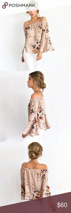 Floral Off Shoulder Bell Sleeve Blouse Nude Blush Feminine floral pattern, perfect rosy nude blush color, flirty off shoulder style with boho bell sleeves. Loose fitting, perfect for a casual look paired with denim shorts and sandals or dress it up for a chic, date night look.  ❌ Sorry, no trades.   fairlygirly fairlygirly Tops Blouses