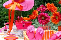 pink orange flip flop party or bunco Girl's Just Wanna Have Fun party