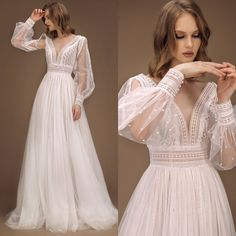 70s Wedding Dress, Cream Wedding Dresses, Wedding Dress Trends, Unusual Wedding Dresses, Colorful Wedding Dresses, Vintage Wedding Dresses, Cream Colored Wedding Dress, Wedding Lace, Hippie Vintage