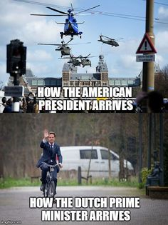 Compare how American and Dutch politicians travel at the nuclear security summit 2014.