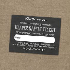 Blue Baby Shower Diaper Raffle Ticket Insert Large Business Card
