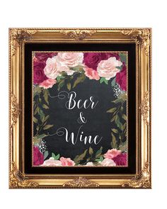 beer and wine sign, floral beer and wine sign, burgundy wedding sign, digital wedding sign, burgundy bar sign, 8x10, you print by OurFriendsEclectic on Etsy