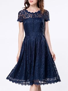 Round Neck Decorative Buttons Hollow Out Skater Dress Only $26.31 USD More info...