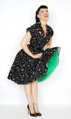Kelly Dress in Black Wonder Dot print #1950s-pin-up #50s-pin-up #bernie-dexter…