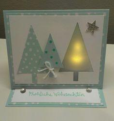 Lichterkarte Weihnachten, Ligther-Card, Candle Card Christmas, Stampin' Up… Stampin Up Christmas, Christmas Cards To Make, Xmas Cards, Holiday Cards, Christmas Crafts, Karten Diy, Handmade Christmas Tree, Hand Made Greeting Cards, Step Cards