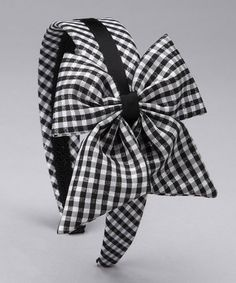 Loving this Black Gingham Bow Headband on #zulily! #zulilyfinds