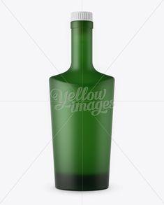 Matte Green Glass Bottle W/ Bung Mockup - Front View