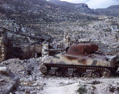 A lone Sherman tank at Monte Cassino, 1944.
