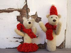 Christmas Teddy Bears Christmas set decoration by Pupillae on Etsy