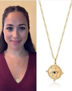 Edge of Ember Visionary Charm Necklace-Meghan Markle - Dress Like A Duchess Rachel Zane Outfits, Meghan Markle Dress, Harry And Meghan News, Royal Jewelry, Red Garnet, Blue Topaz, Gold Necklace, Fashion Jewelry, Charmed