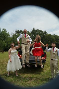 Bobby and I helping or bridal party out of the truck
